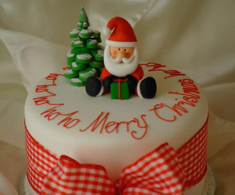 Pin Very Merry Christmas Cake Handcrafted Fondant Santa ...
